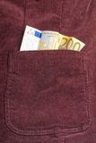 Euro bill inside pocket Stock Photos