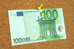 Euro bill pinned down Stock Photos