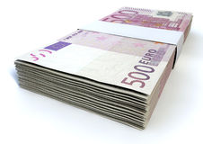 Euro Bill Stack. A stack of bundled five hundred euro notes on an  background Royalty Free Stock Images
