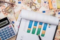 50 euro billets de banque avec le graphique, le stylo et la calculatrice de finances Images stock