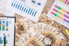 50 euro billets de banque avec le graphique, le stylo et la calculatrice de finances Image libre de droits