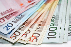 Euro billets de banque d'argent Image stock