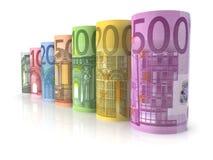 Euro billets de banque d'argent Photo stock