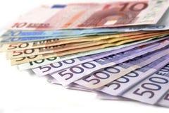 Euro billets de banque d'argent Images libres de droits