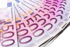 500 euro billets de banque d'argent d'isolement sur un fond blanc images libres de droits