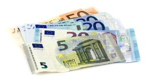 Euro billets de banque d'isolement au-dessus du blanc avec le chemin de coupure Images libres de droits