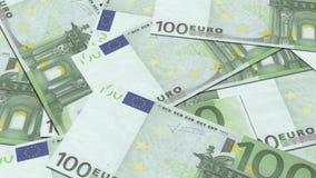100 euro billets de banque dans une rangée banque de vidéos