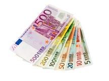 Euro billets de banque de cinq jusqu'à cinq cents Image stock