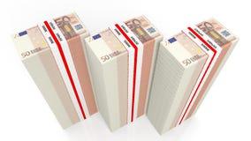 Euro billets de banque de 50 dans de grandes piles Photographie stock libre de droits