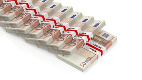 Euro billets de banque de 50 dans les piles Photo libre de droits