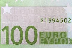 Euro billets de banque de la texture 100 Photo libre de droits