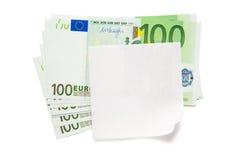 Euro billets de banque et papier blanc photo stock