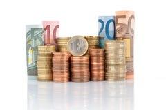 Euro billets de banque et pièces de monnaie Images stock