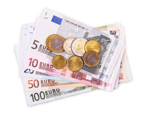 Euro billets de banque et pièces de monnaie Image stock