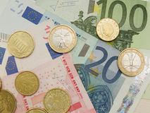 Euro billets de banque et pièces de monnaie Image libre de droits