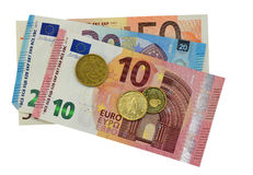 Euro billets de banque et pièces de monnaie D'isolement avec le dossier de png joint Photos libres de droits