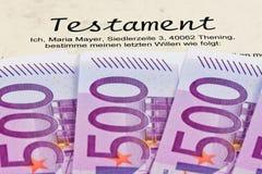 Euro billets de banque et volontés image libre de droits