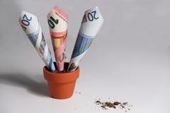 Euro billets de banque s'élevant hors du pot d'argile Photographie stock
