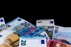 Euro billets de banque de valeur d'argent, système de paiement d'Union européenne photos libres de droits