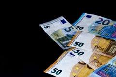 Euro billets de banque de valeur d'argent, système de paiement d'Union européenne photos stock