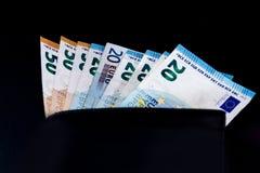 Euro billets de banque de valeur d'argent, système de paiement d'Union européenne images stock