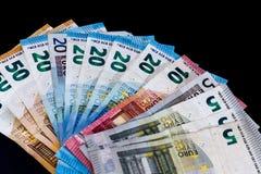 Euro billets de banque de valeur d'argent, système de paiement d'Union européenne photo stock
