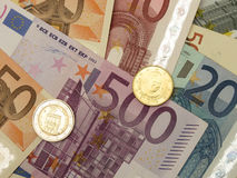 Euro billets et monnaie Photos stock