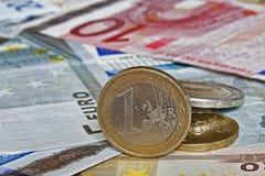 Euro billets et monnaie Images libres de droits