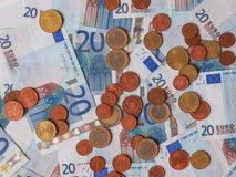 Euro billets et monnaie Image libre de droits