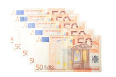 Euro bills. Bunch of Euro bills isolated on white background Royalty Free Stock Photo
