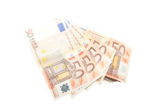 Euro bills. Bunch of Euro bills isolated on white background Royalty Free Stock Images