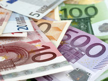 Euro bills. Detail of some euro bills Royalty Free Stock Image