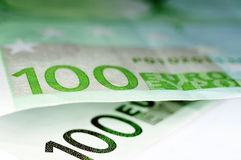 Euro bills. Close up of some 100 euros bills Royalty Free Stock Image