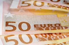 Euro bills. Close up of some 50 euros bills Stock Photo