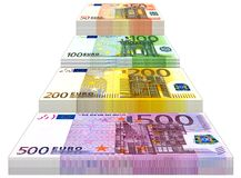 Euro Bills. 50, 100, 200 and 500 Euro banknotes Royalty Free Stock Photography