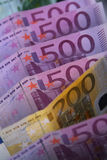 Euro bills. European currency (500 euro and 200 euro bills Stock Photography