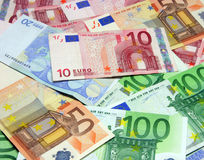 Euro bills. Different euro bills Royalty Free Stock Image