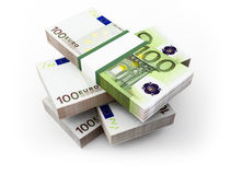 Euro bills. 3d. Royalty Free Stock Photo