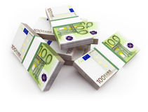 Euro bills. 3d. 3d illustration on white isolated Royalty Free Stock Photography