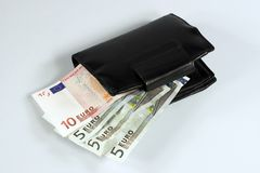 Euro bills. Including a wallet Royalty Free Stock Photos