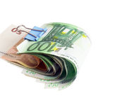 Euro bills. With paper clip on white background Royalty Free Stock Image