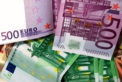Euro bills. Bunch of euro bills different colour Royalty Free Stock Photo