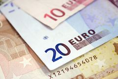 Euro bills. Close up. Euro concept background Royalty Free Stock Photos