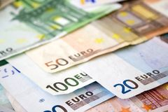Euro bills. Close up. Euro concept background Royalty Free Stock Photography