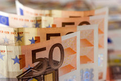 50 euro Bills. An Abstract of 50 euro Bills with Narrow Depth of Field royalty free stock photography