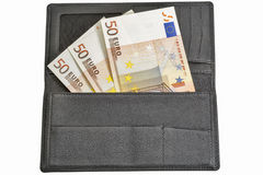 Euro bills in black leather wallet isolated on white Royalty Free Stock Image