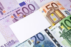 Euro bills and blank business, thank you, or greeting card Royalty Free Stock Image