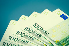 Euro Bills on Blue Royalty Free Stock Images