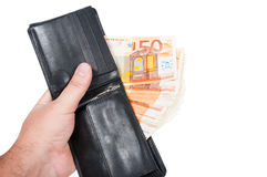 50 euro bills in a briefcase Stock Images