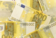Euro Bills - 200. Close-up of Euro Bills Horizontal Background Photo Stock Images